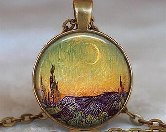 Van Gogh's New Moon art pendant, Van Gogh jewelry Van Gogh necklace Van Gogh art pendant keychain key chain