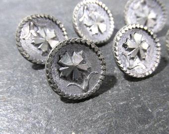 Victorian Pewter Buttons Six (6) Antique Bright Cut Faux Cut Steel Flower Victorian Buttons Matching Vintage Jewelry Sewing Supplies (A6)