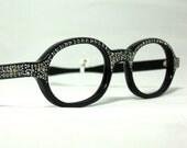Vintage 60s Eyeglasses. Round Frames Loaded with Rhinestones