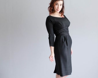1950s Silk Dress - Vintage 50s Little Black Dress - Dark Eyes Dress