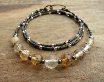 Dainty Citrine Necklace, rustic November birthstone jewelry with champagne and honey colored faceted gemstones