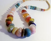 Graduated Multi Gemstone Bead Necklace  18 inches Long