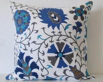 Calypso Slub Marina blue suzani decorative pillow cover