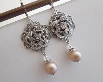 Bridal champagne swarovski Pearl Earrings Chandelier Earrings rhinestone Statement earrings Pearl Bridal Earrings wedding earrings ROSELANI