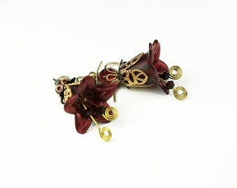 Vintage Style Ruby Lucite Flower Earrings with Gold Filigree & Swarovski Crystals
