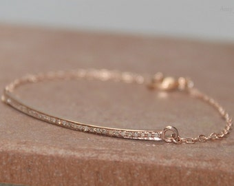 Pave Diamond Bar Bracelet, Rose Gold Filled, Genuine Diamonds
