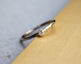 Moissanite Engagement Ring, Solid 14K yellow gold, petit engagement ring
