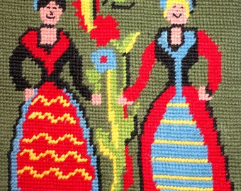 Floral Needlepoint wall hanging Two Women and their Enormous flower on Black scroll hanger