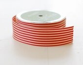 "CLEARANCE - RED + IVORY - 30 Yards of Ribbon - 1.5"" Wide Striped Grosgrain - Full Spool"
