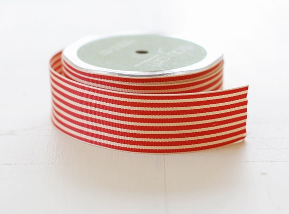 "RED + IVORY - 30 Yards of Ribbon - 1.5"" Wide Striped Grosgrain - Full Spool"