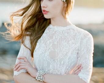 Rhea Comb  Swarovski Crystal Silver Bridal Headpiece  Wedding