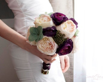 Cream Blush and Plum Purple Garden Rose and Ranunculus Wedding Bouquet
