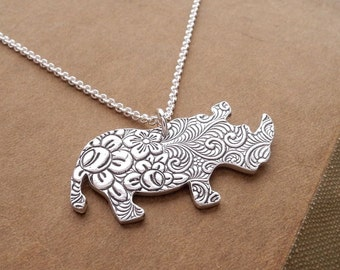 Rhino Necklace, Flowered Rhino Necklace, Fine Silver, Sterling Silver Chain, Made To Order