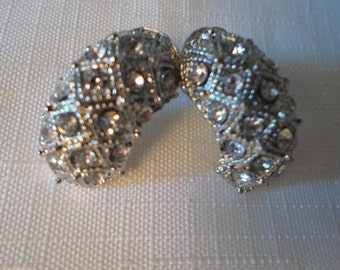 RHINESTONE EARRINGS / Hoops / Wedding / Bridal / Prom / Clubbing / Chic / Couture / Classic / Statement / Traditional / Mod / Accessories