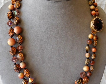 1950s Amber Crystal and Baroque Bead Choker Necklace & Earrings Set Fall Colors