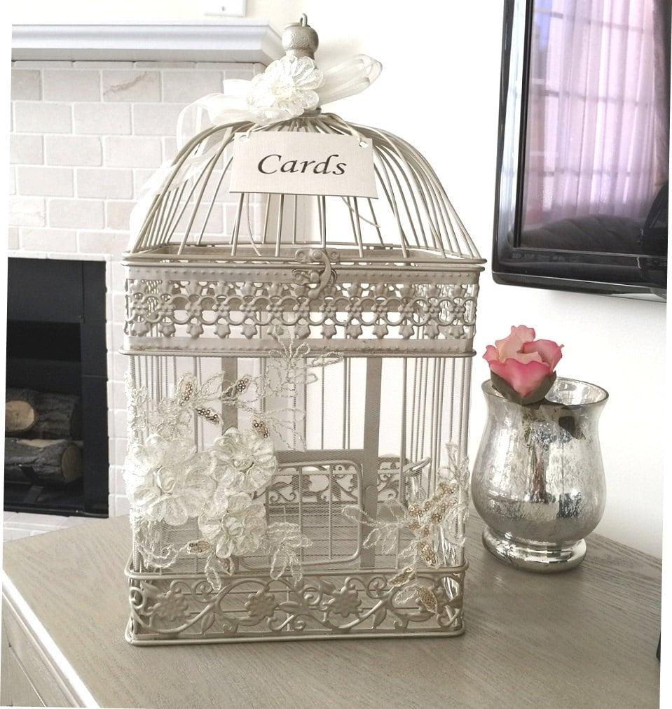 Gift Card For Wedding: Birdcage Card Holder Elegant Money Box Wedding Birdcage