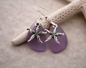 Purple Sea Glass Earrings Star Fish Starfish Earrings Seaglass Earrings Starfish Jewelry Sea Glass Jewelry Beach Jewelry Seaglass Jewelry 69
