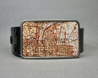 Belt Buckle Vintage Raleigh North Carolina Map Cool Gift for Men or Women
