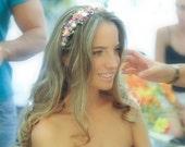 Pink flower crown, bridal headpiece, bridal hair wreath, pink floral crown, bridal wreath, boho flower crown, bridal flower crown