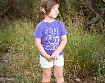 Oh Snap! Funny Kids Shirt - Funny Boys Clothing or Girls Girls Clothing - Camera and Photography Tee Shirt - Hipster Kids Baby and Toddler