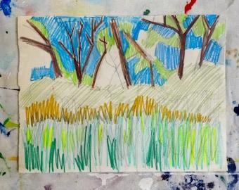 art landscape, landscape drawing, tree, illustration, sketch, original illustration, drawing of trees,  tree illustration, landscape drawing
