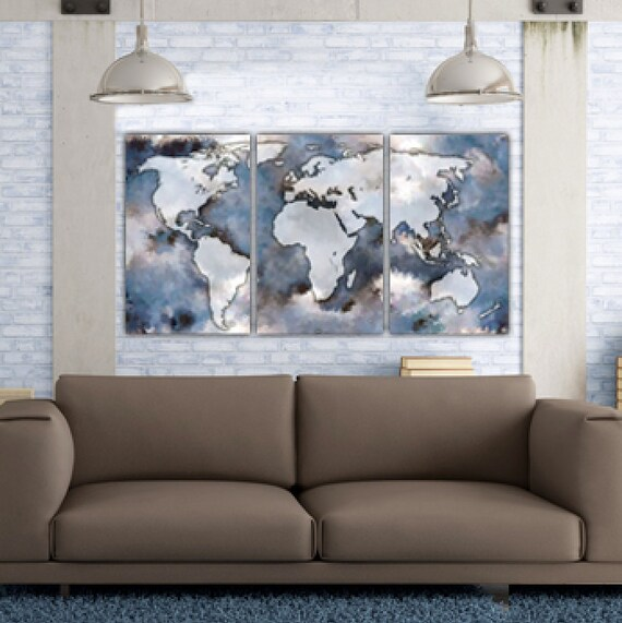 Large world map art on canvas gallery wrap canvas world map te gusta este artculo gumiabroncs Choice Image