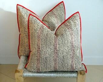 Pair Indian Block Print and Kantha Work Pillows 20x20