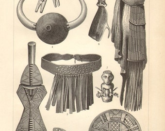 1902 Art and Culture of African People Antique Engraving Print