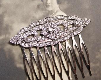 TRuE.Vintage Bridal Hair Comb,Art Deco Silver Rhinestone Repurposed Brooch,Something Old,Silver Rhinestone,Gatsby,Madmen,Flapper,Madmen