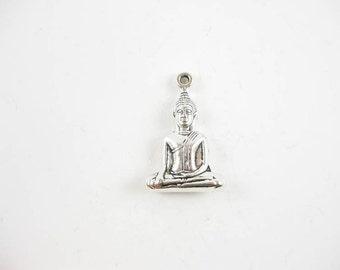 2 Buddha Pendants in Silver Tone - C2117