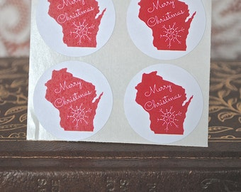 WI Merry Christmas - Wisconsin Envelope seals- Stickers - 16 white round labels/seals 1.2""