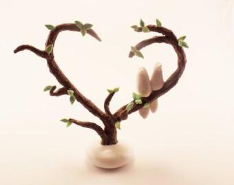 Wedding Cake Topper Love Birds: White Birds on Heart Shaped Tree Branches- Unique Custom Cake Topper