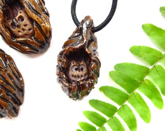 Ceramic Owl Pendant / Pottery Owl Necklace / Woodland Theme / Focal Jewelry Supply / Owl Lover Gift  / USA Handmade Owl Jewelry / Owl Totem