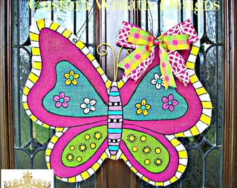 Burlap Butterfly Door Hanging