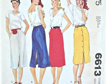 McCall's 6613, Misses Skirt Pattern, Sizes 10, 12, 14,  Vintage, 1979