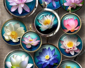 Lotus, Water Lilies Digital Collage Sheets 20mm, 18mm, 16mm, 14mm, 12mm circles Printable Digital Downloads - Jewelry - CG-921