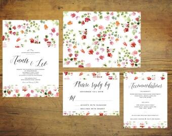 Printable Pink Wedding Invitation Set   Wedding Invitation Suite, Watercolor Invitation, Floral, Pink and Red, Red Invitation