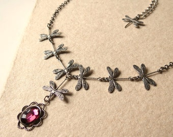 Purple and silver dragonflies necklace - Victorian elve woman christmas gift