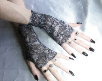 Paisley Lace Arm Warmers Fingerless gloves Armwarmers wrist cuffs - Unearthed - Belly Dance Mehndi Fusion Gothic Goth glove Gypsy Bohemian