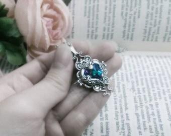 Valkyrie's Heart Swarovski Crystal Silver Bridal Bridesmaid Pendant - Vitrail Light