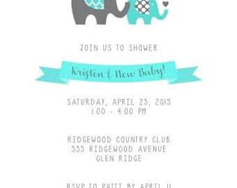 Elephant / Little Peanut Baby Shower Invitation
