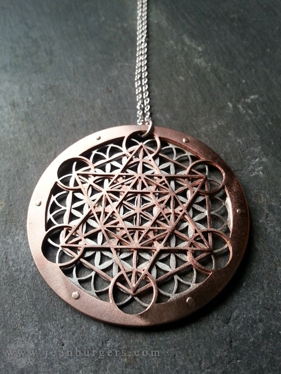 Large Metatron S Cube And Flower Of Life Pendant
