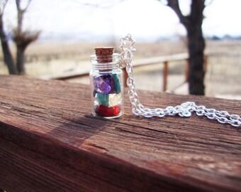 Chakra balancing and charging jar pendant necklace