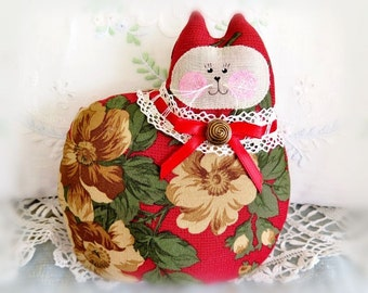 Cat Pillow Doll, Cloth Doll 7 inch, Red Tan Green Floral Fabric, Primitive Soft Sculpture Handmade CharlotteStyle Decorative Folk Art