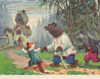 "Postcard Illustration by Nosov for Russian Tale ""Teremok"" - 1955, Izogiz"