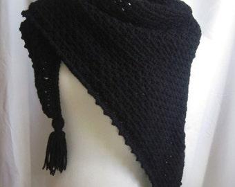 Crochet Triange Scarf Shawl - Black - With Tassels