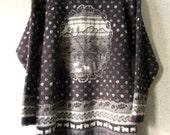 Oversized Sweater long tunic wool pullover rustic woodsy intarsia pattern Nordic ski sweater brown grey sheep birds women medium Egalite