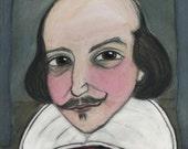 William Shakespeare, Literary Portrait, Art Print (6 x 8) Bard Illustration