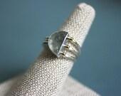 Aquamarine Half Moon ring