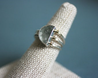 Aquamarine Half Moon ring